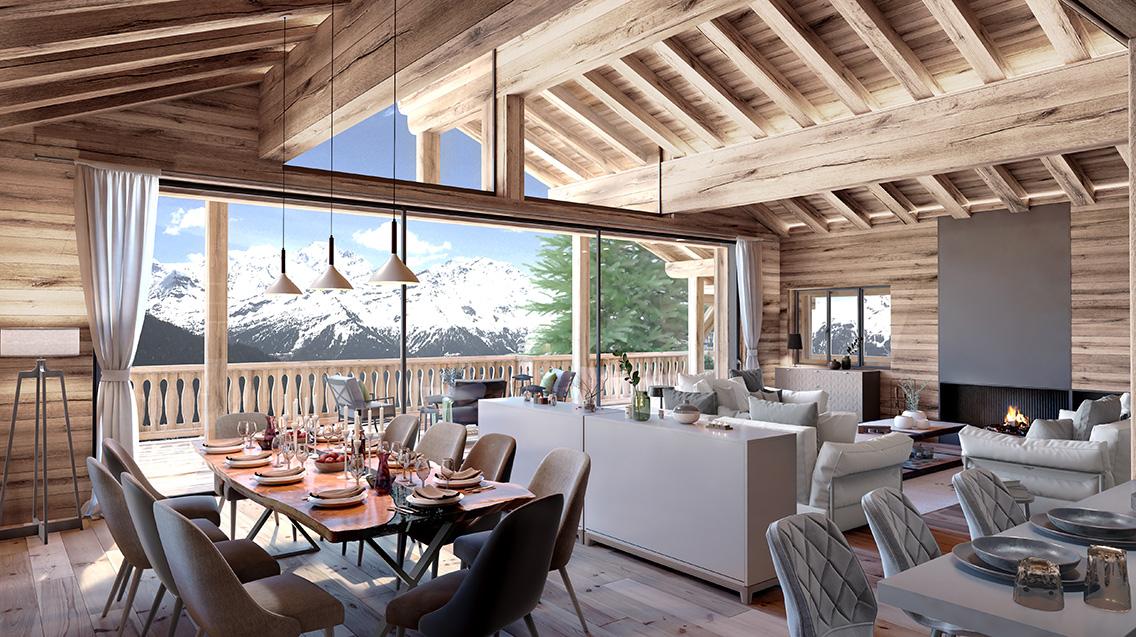 Salle à manger vue sur montagne chalet suisse