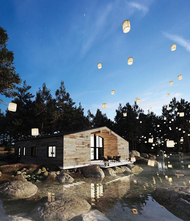 Maison près d'un lac avec des lanternes image de synthese