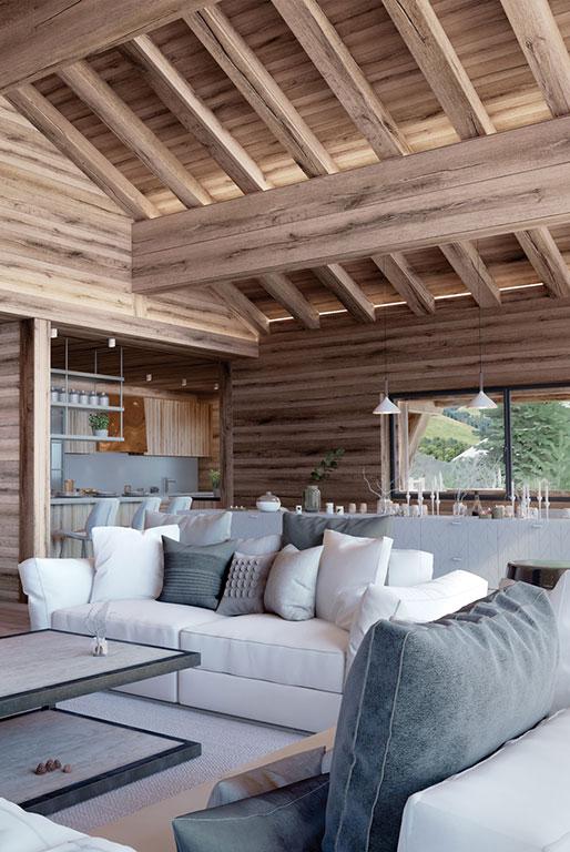 Salon cosy style chalet bois